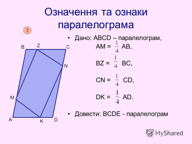 Означення та ознаки паралелограма Дано: АВСD – паралелограм, АМ = АВ, BZ = BC, CN = CD, DK = AD. Довести: ВСDЕ - паралелограм 3 D BC A Е M Z N K