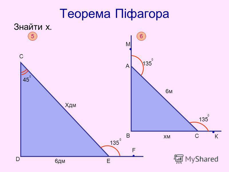 Теорема Піфагора Знайти х. 5 Хдм F С 6дм D 135 0 45 0 E 6 B A M 6м6м хм С К 135 0 0