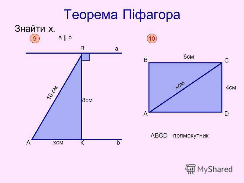 Теорема Піфагора Знайти х. 9 B хсм bАК а 10 см 8см a || b 10 ABCD - прямокутник А В С D 6см 4см хсм