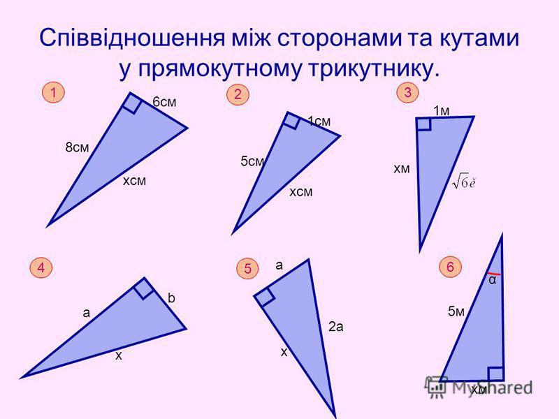 Співвідношення між сторонами та кутами у прямокутному трикутнику. 1 8см 6см хсм 2 5см 1см 3 хм 1м 4 х а b 5 х a 2a 6 хм 5м5м α