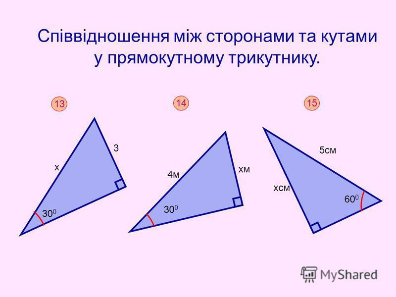 Співвідношення між сторонами та кутами у прямокутному трикутнику. 13 х 3 30 0 15 5см хсм 60 0 14 30 0 4м хм