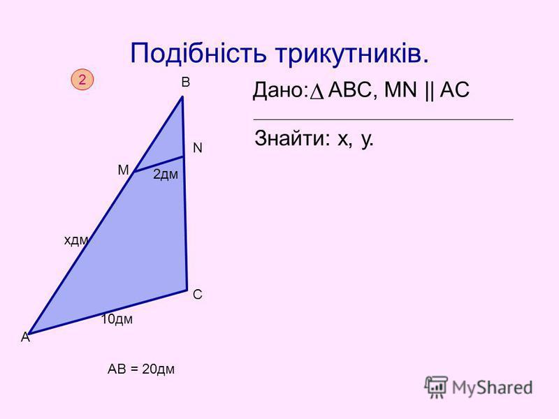 Подібність трикутників. Дано: АВС, MN || AC Знайти: х, у. 2 AB = 20дм А 10дм С М N B xдм 2дм