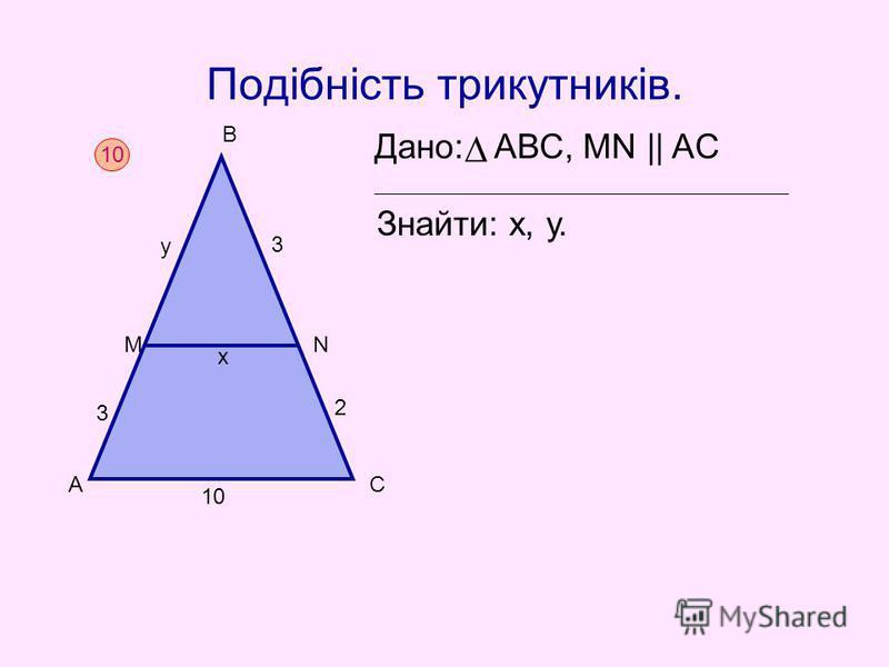 Подібність трикутників. Дано: АВС, MN || AC Знайти: х, у. 10 А М В N С х 3 у 3 2