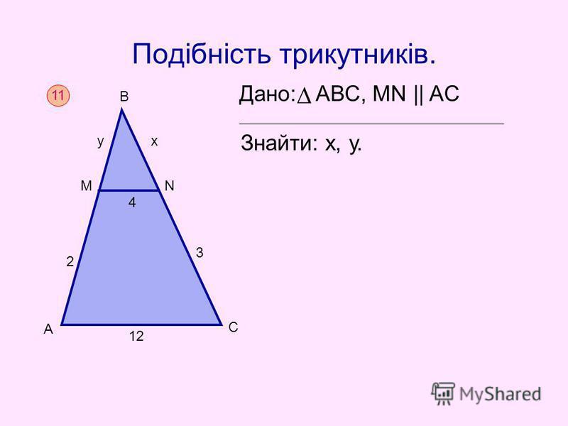 Подібність трикутників. Дано: АВС, MN || AC Знайти: х, у. 11 А С 12 2 3 4 В МN ух