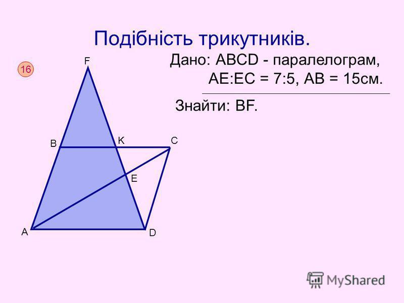 Подібність трикутників. 16 A C B D E F K Дано: АВСD - паралелограм, AЕ:EС = 7:5, АВ = 15см. Знайти: ВF.