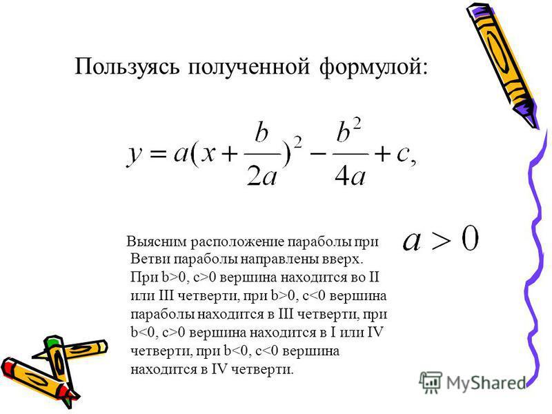 Пользуясь полученной формулой: Выясним расположение параболы при Ветви параболы направлены вверх. При b>0, c>0 вершина находится во II или III четверти, при b>0, c 0 вершина находится в I или IV четверти, при b<0, c<0 вершина находится в IV четверти.