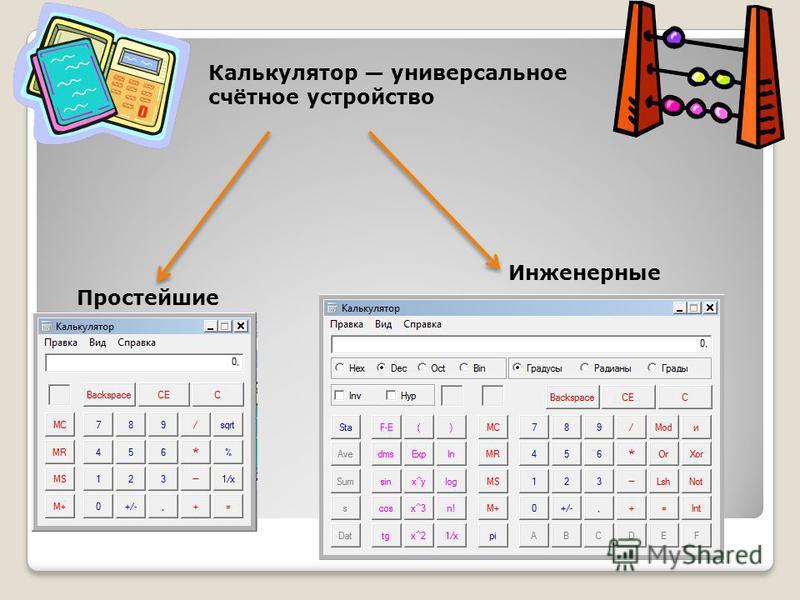 Калькулятор универсальное счётное устройство Простейшие Инженерные