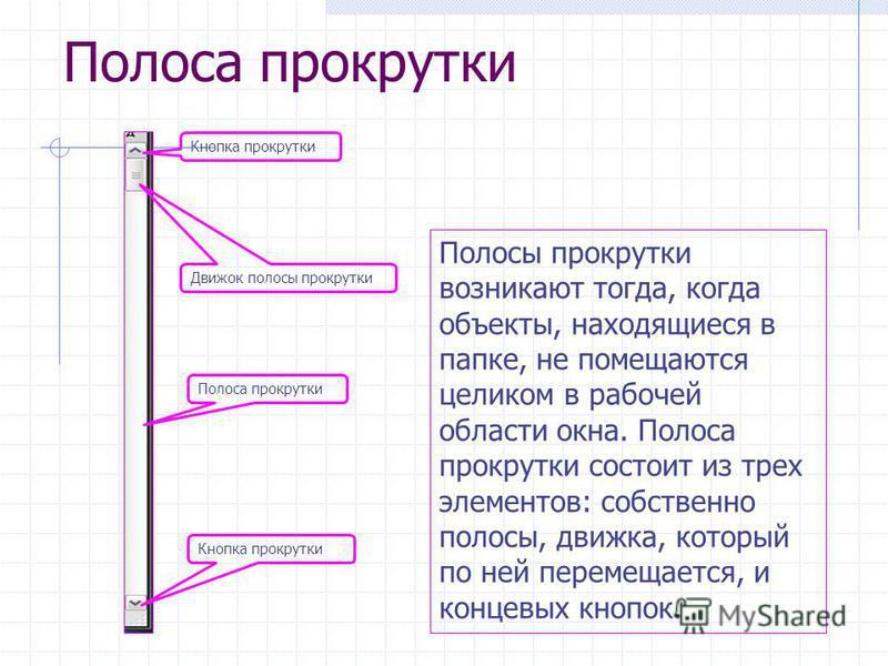 Полоса прокрутки Кнопка прокрутки Движок полосы прокрутки Полоса прокрутки Кнопка прокрутки Полосы прокрутки возникают тогда, когда объекты, находящиеся в папке, не помещаются целиком в рабочей области окна. Полоса прокрутки состоит из трех элементов