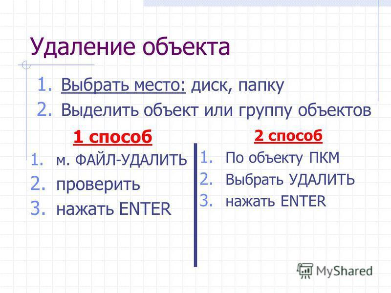 Удаление объекта 1 способ 1. м. ФАЙЛ-УДАЛИТЬ 2. проверить 3. нажать ENTER 1. Выбрать место: диск, папку 2. Выделить объект или группу объектов 2 способ 1. По объекту ПКМ 2. Выбрать УДАЛИТЬ 3. нажать ENTER