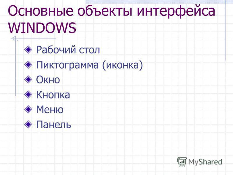 Основные объекты интерфейса WINDOWS Рабочий стол Пиктограмма (иконка) Окно Кнопка Меню Панель