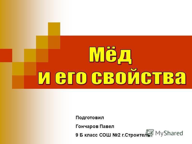 Подготовил Гончаров Павел 9 Б класс СОШ 2 г.Строитель