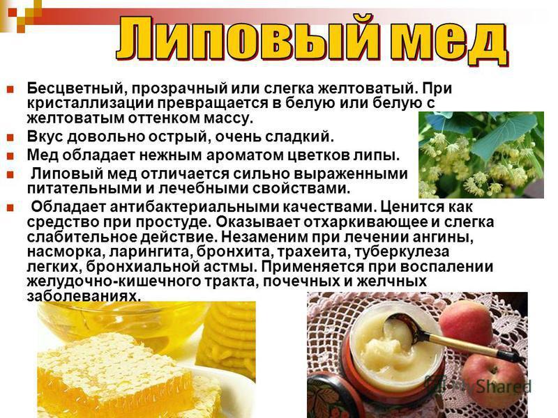 Бесцветный, прозрачный или слегка желтоватый. При кристаллизации превращается в белую или белую с желтоватым оттенком массу. Вкус довольно острый, очень сладкий. Мед обладает нежным ароматом цветков липы. Липовый мед отличается сильно выраженными пит
