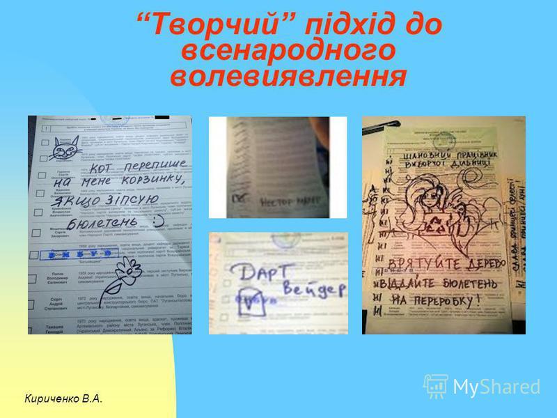 Творчий підхід до всенародного волевиявлення Кириченко В.А.
