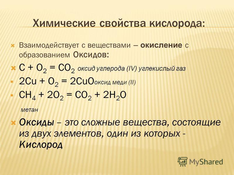 Химические свойства кислорода: Взаимодействует с веществами – окисление с образованием Оксидов: С + О 2 = СО 2 оксид углерода (IV) углекислый газ 2Cu + О 2 = 2СuО оксид меди (II) СН 4 + 2О 2 = СО 2 + 2Н 2 О метан Оксиды – это сложные вещества, состоя