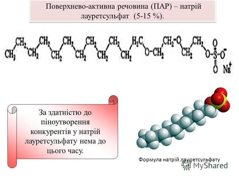 Формула натрій лауретсульфату За здатністю до піноутворення конкурентів у натрій лауретсульфату нема до цього часу. Поверхнево-активна речовина (ПАР) – натрій лауретсульфат (5-15 %).