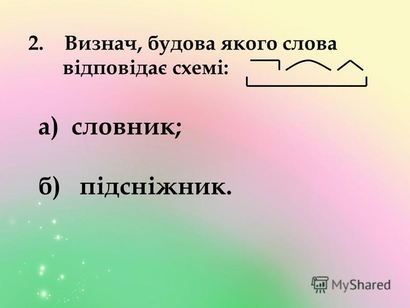 2. Визнач, будова якого слова відповідає схемі: а) словник; б) підсніжник.