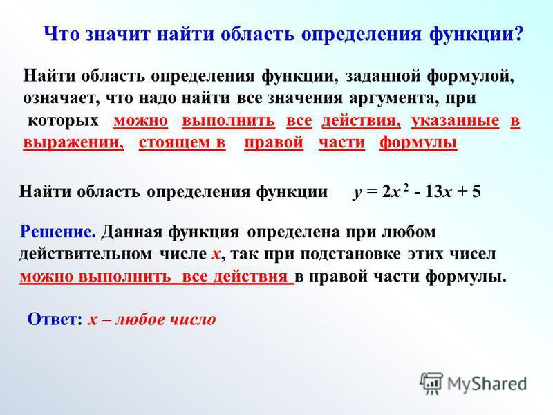 Найти область определения функции, заданной формулой, означает, что надо найти все значения аргумента, при которых можно выполнить все действия, указанные в выражении, стоящем в правой части формулы Что значит найти область определения функции? Найти