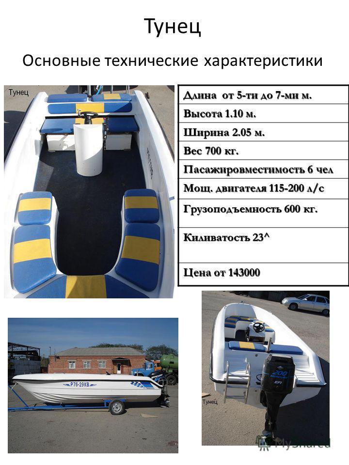 Тунец Основные технические характеристики Длина от 5-ти до 7-ми м. Высота 1.10 м. Ширина 2.05 м. Вес 700 кг. Пасажировместимость 6 чел Мощ. двигателя 115-200 л/с Грузоподъемность 600 кг. Киливатость 23^ Цена от 143000