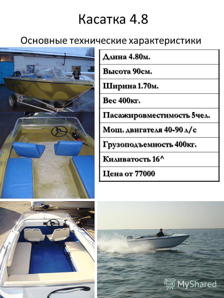 Касатка 4.8 Основные технические характеристики Длина 4.80 м. Высота 90 см. Ширина 1.70 м. Вес 400 кг. Пасажировместимость 5 чел. Мощ. двигателя 40-90 л/с Грузоподъемность 400 кг. Киливатость 16^ Цена от 77000