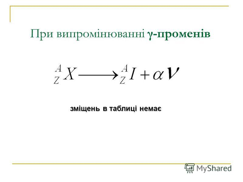 При випромінюванні γ-променів зміщень в таблиці немає