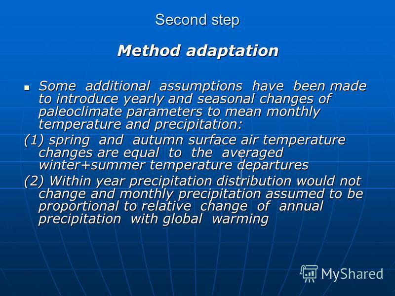 Second step Method adaptation Method adaptation Some additional assumptions have been made to introduce yearly and seasonal changes of paleoclimate parameters to mean monthly temperature and precipitation: Some additional assumptions have been made t