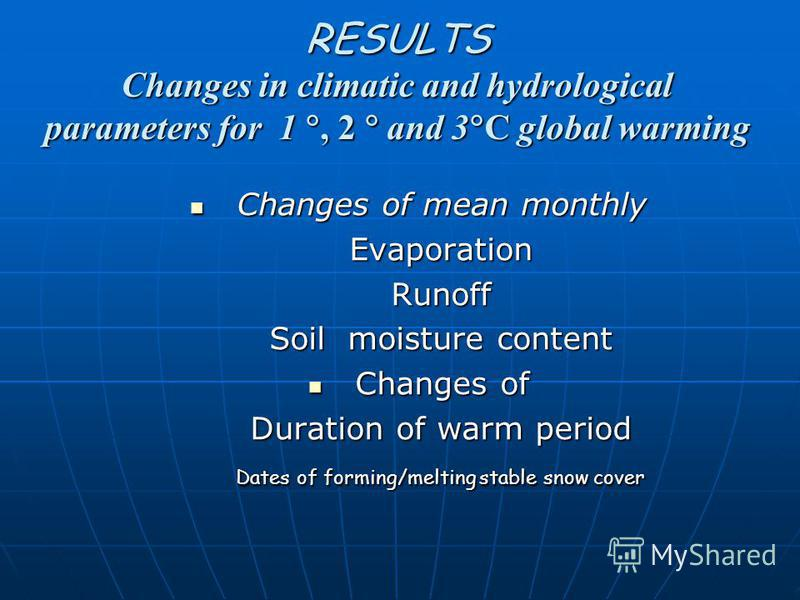 RESULTS Changes in climatic and hydrological parameters for 1, 2 and 3 С global warming Changes of mean monthly Changes of mean monthly Evaporation Evaporation Runoff Runoff Soil moisture content Soil moisture content Changes of Changes of Duration o