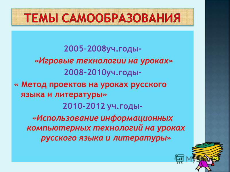 2005–2008 уч.годы- «Игровые технологии на уроках» 2008-2010 уч.годы- « Метод проектов на уроках русского языка и литературы» 2010-2012 уч.годы- «Использование информационных компьютерных технологий на уроках русского языка и литературы»
