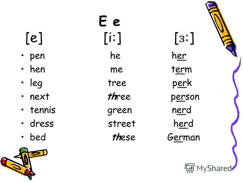 E e [e] [i:] [ ɜ :] pen he her hen me term leg tree perk next three person tennis green nerd dress street herd bed these German