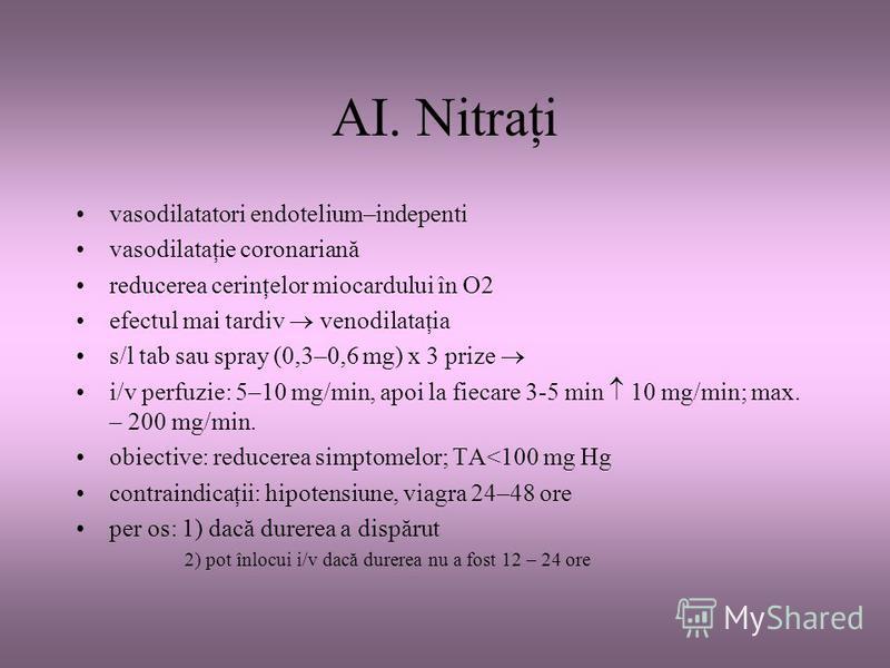 AI. Nitraţi vasodilatatori endotelium–indepenti vasodilataţie coronariană reducerea cerinţelor miocardului în O2 efectul mai tardiv venodilataţia s/l tab sau spray (0,3–0,6 mg) x 3 prize i/v perfuzie: 5–10 mg/min, apoi la fiecare 3-5 min 10 mg/min; m
