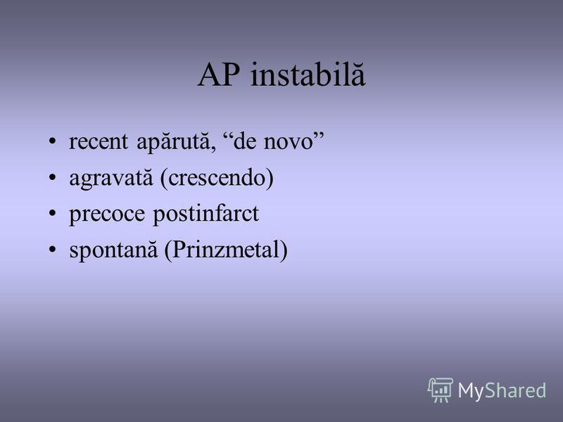 AP instabilă recent apărută, de novo agravată (crescendo) precoce postinfarct spontană (Prinzmetal)