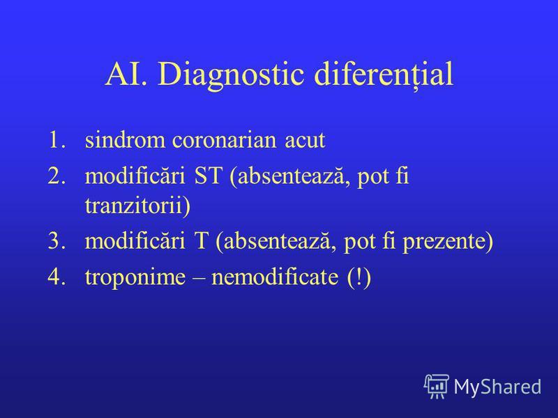AI. Diagnostic diferenţial 1.sindrom coronarian acut 2.modificări ST (absentează, pot fi tranzitorii) 3.modificări T (absentează, pot fi prezente) 4.troponime – nemodificate (!)
