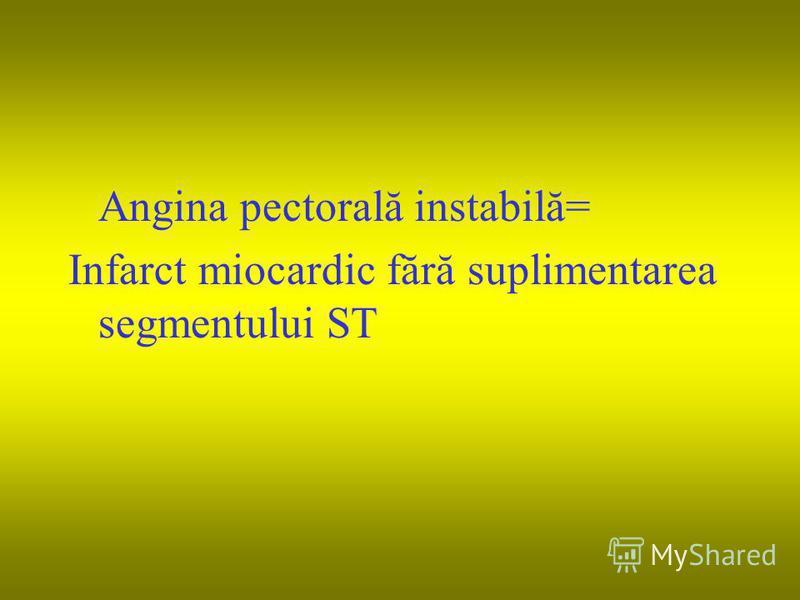 Angina pectorală instabilă= Infarct miocardic fără suplimentarea segmentului ST
