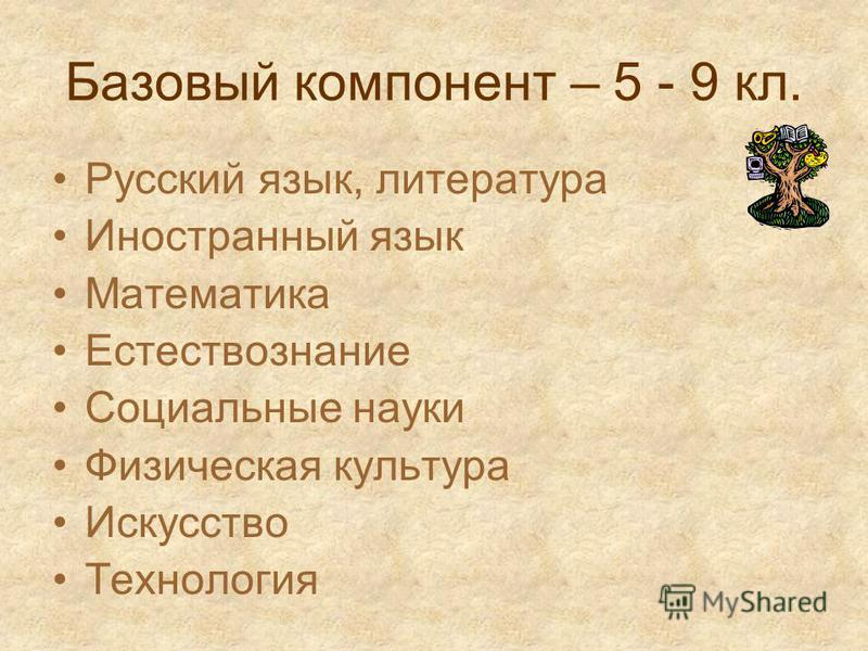 Базовый компонент – 5 - 9 кл. Русский язык, литература Иностранный язык Математика Естествознание Социальные науки Физическая культура Искусство Технология