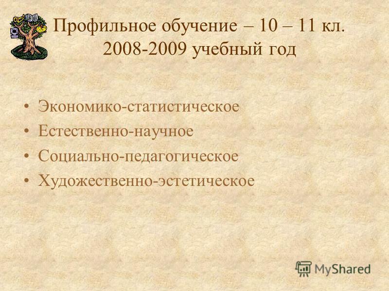 Профильное обучение – 10 – 11 кл. 2008-2009 учебный год Экономико-статистическое Естественно-научное Социально-педагогическое Художественно-эстетическое