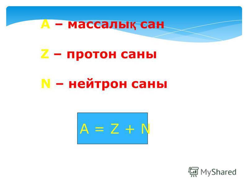 А – массалы қ сан Z – протон саны N – нейтрон саны А = Z + N