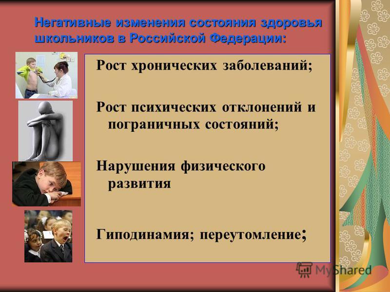 Негативные изменения состояния здоровья школьников в Российской Федерации: Рост хронических заболеваний; Рост психических отклонений и пограничных состояний; Нарушения физического развития Гиподинамия; переутомление ;
