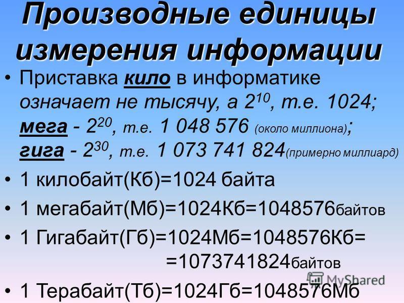 Производные единицы измерения информации Приставка кило в информатике означает не тысячу, а 2 10, т.е. 1024; мега - 2 20, т.е. 1 048 576 (около миллиона) ; гига - 2 30, т.е. 1 073 741 824 (примерно миллиард) 1 килобайт(Кб)=1024 байта 1 мегабайт(Мб)=1