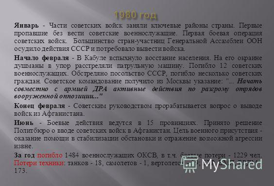 Январь - Части советских войск заняли ключевые районы страны. Первые пропавшие без вести советские военнослужащие. Первая боевая операция советских войск. Большинство стран - участниц Генеральной Ассамблеи ООН осудило действия СССР и потребовало выве
