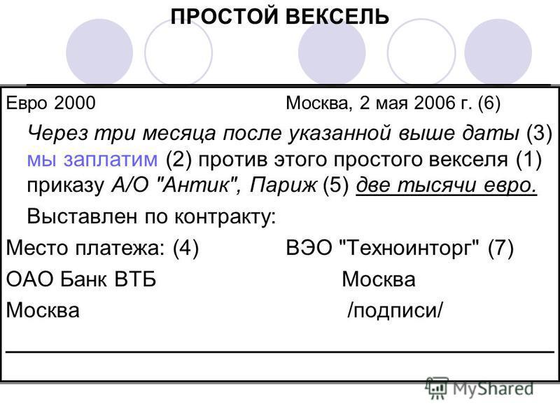 ПРОСТОЙ ВЕКСЕЛЬ ___________________________________________ Евро 2000Москва, 2 мая 2006 г. (6) Через три месяца после указанной выше даты (3) мы заплатим (2) против этого простого векселя (1) приказу А/О
