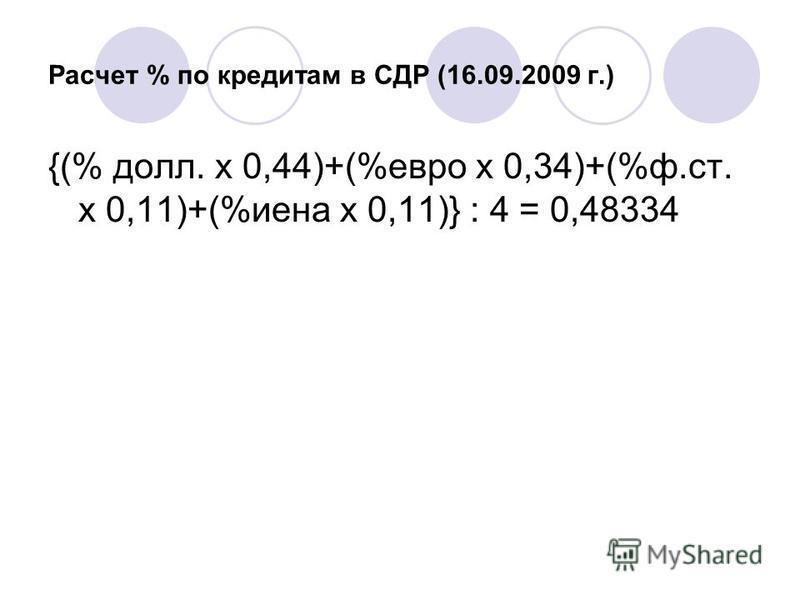 Расчет % по кредитам в СДР (16.09.2009 г.) {(% долл. х 0,44)+(%евро х 0,34)+(%ф.ст. х 0,11)+(%иена х 0,11)} : 4 = 0,48334