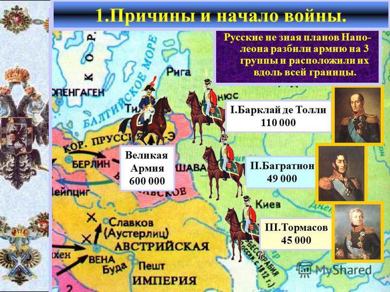 Летом 1812 г. французская армия численностью 600 000 человек сосредоточилась на территории Польши. 1. Причины и начало войны. Великая Армия 600 000 II.Багратион 49 000 I.Барклай де Толли 110 000 III.Тормасов 45 000 Наполеон рассчитывал в при- граничн