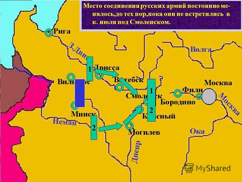 Место соединения русских армий постоянно менялось,до тех пор,пока они не встретились в к. июля под Смоленском. 1 2 1212