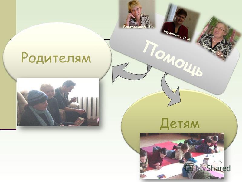 Родителям Детям Помощь РешетниковаМ.В. Бердникова Н.М. Шульгина Т.В.