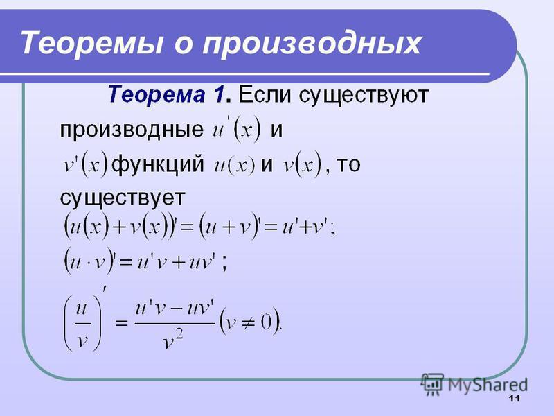 11 Теоремы о производных