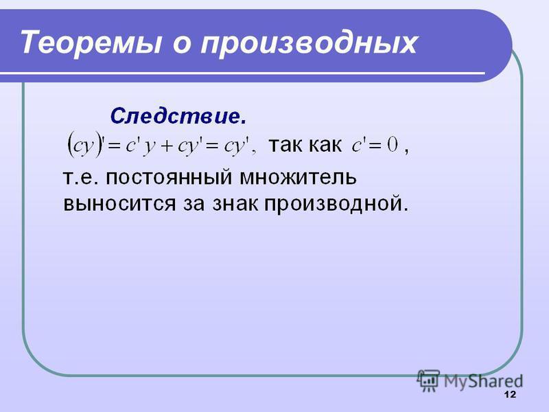 12 Теоремы о производных