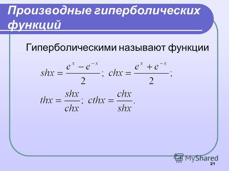 21 Производные гиперболических функций Гиперболическими называют функции