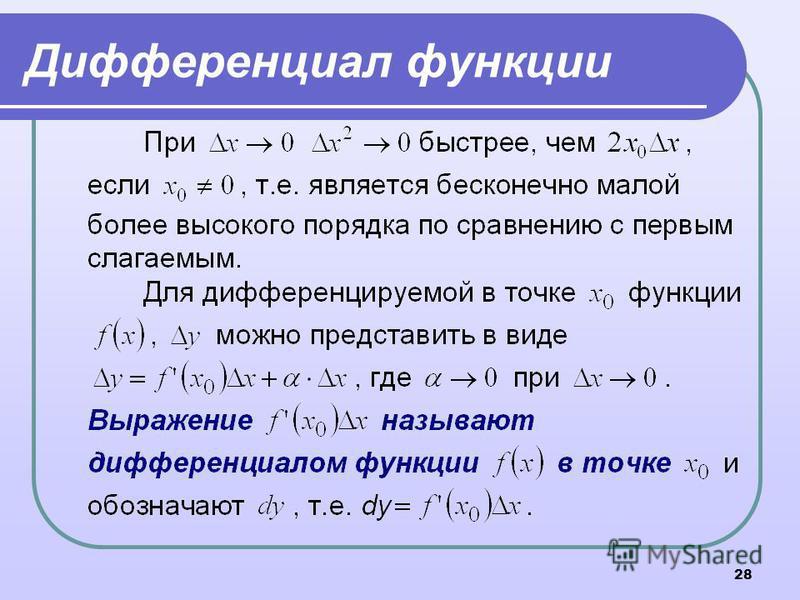 28 Дифференциал функции