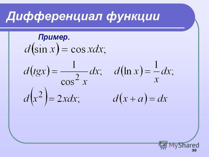 30 Дифференциал функции