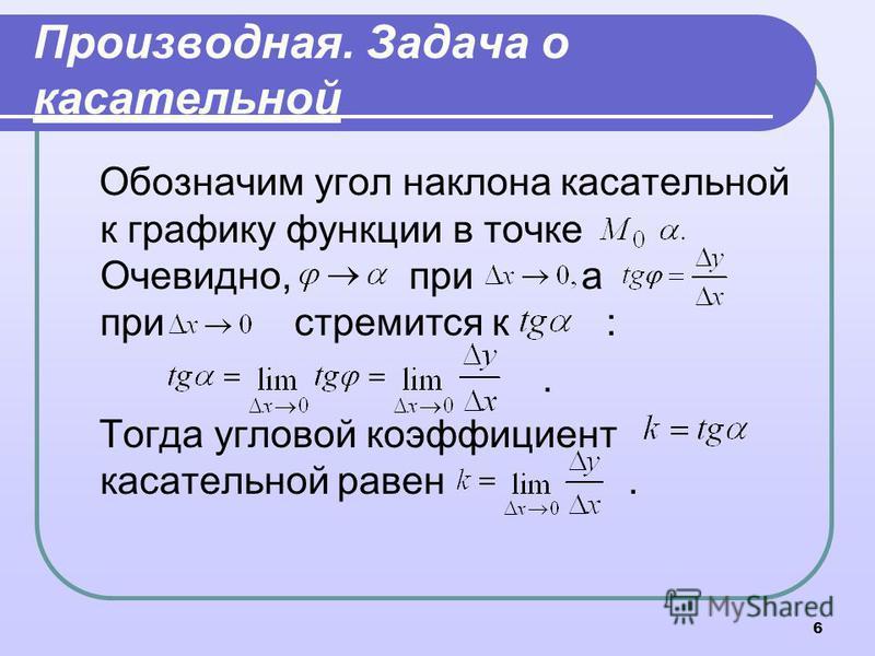6 Производная. Задача о касательной Обозначим угол наклона касательной к графику функции в точке Очевидно, при а при стремится к :. Тогда угловой коэффициент касательной равен.