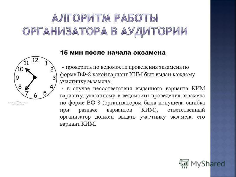 15 мин после начала экзамена - проверить по ведомости проведения экзамена по форме ВФ-8 какой вариант КИМ был выдан каждому участнику экзамена; - в случае несоответствия выданного варианта КИМ варианту, указанному в ведомости проведения экзамена по ф